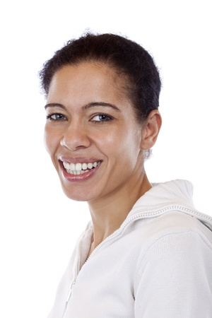 Portrait of beautiful, coloured woman which smiles happy. Isolated on white background. photo
