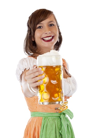stein: Beautiful, young, Bavarian woman in dirndl holding oktoberfest beer stein. Isolated on white background.