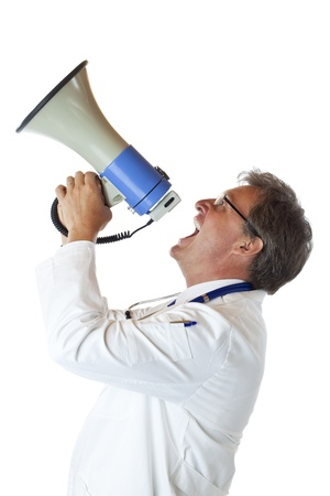 resolute: Profile of a resolute doctor screaming loudly in megaphone. Isolated on white background.