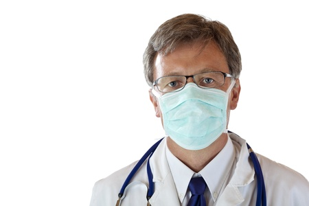 Male medical doctor protects himself with maks against virus infection. isolated on white background.