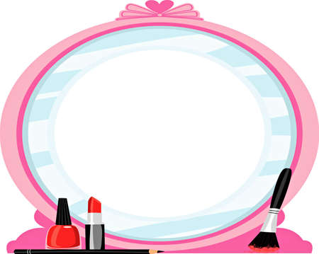 Make up and mirror illustration Stock Photo