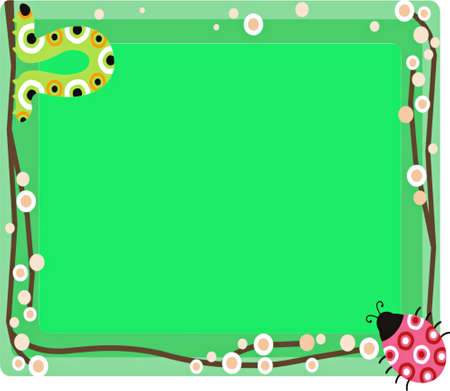 Green illustration decorated with funny animals Stock Photo