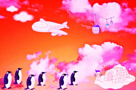 Penguin march in the sky Stock Photo