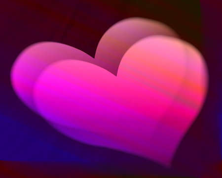 Hearts 3D illustration with particular light effects