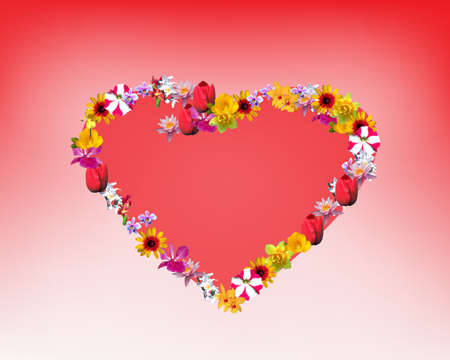 Romantic heart of flowers Vector