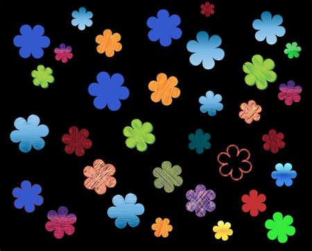 Floral background against black