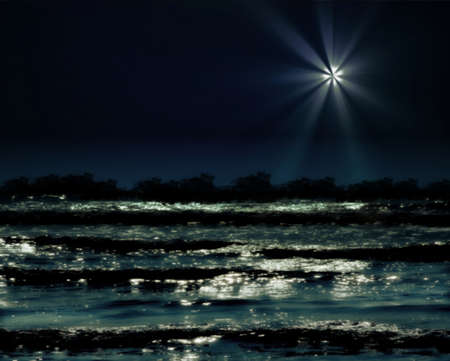 Sparkling night sea waves