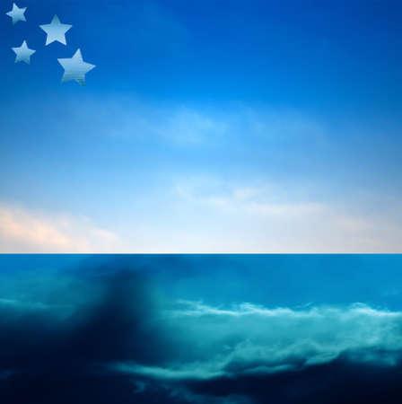 Blue sky seascape background banner