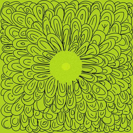 Green hand drawn flower
