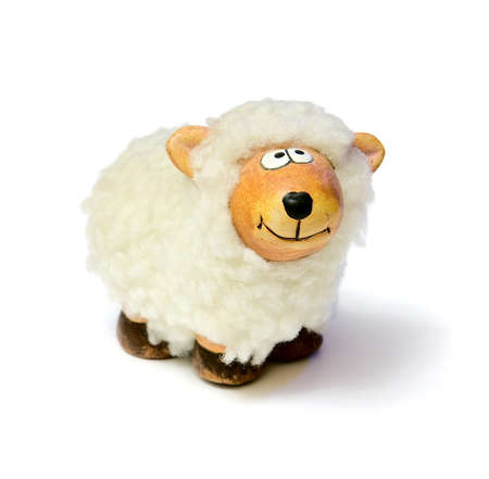 paschal lamb: White sheep toy isolated on a white background with shadow Stock Photo
