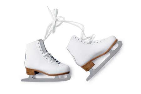 patinaje sobre hielo: blanco de patinaje sobre hielo Shouse aisladas sobre fondo blanco