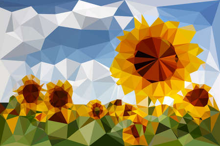 traced: Sunflowers traced in vector triangular Illustration