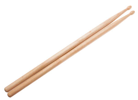 A pair of wooden drumsticks isolated on a white background Stock Photo