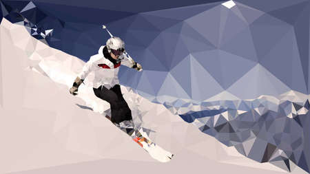 piste: Skier riding down the slope. Vector triangular image.