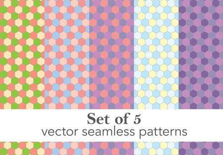 Set of 5 colorful honeycomb vector seampless pattern. Each pattern on separete layer. Vector