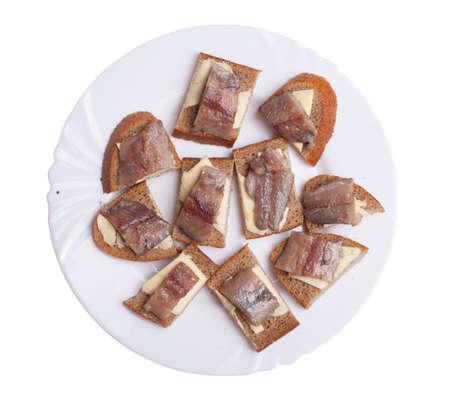 Herring sandwiches. Herring, bread, oil, butter.