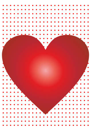 Red heart isolated on dotted background. Vector illustration.