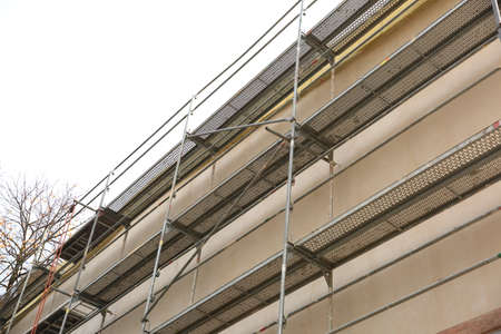 Stainless steel facade scaffolding.