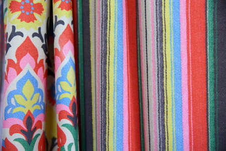 Colorful fabric is used for clothes, for women and men.