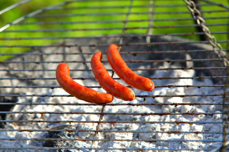 Meat and sausage on the grill. Banco de Imagens