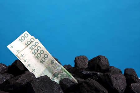 Polish banknotes lie on the coal heap.