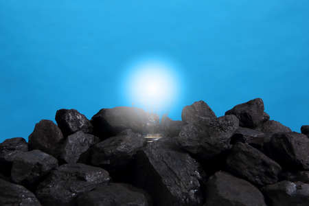 The bulb shines with strong coal heap.