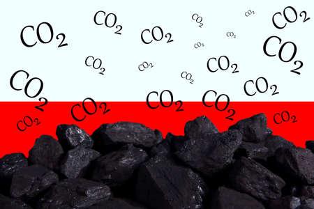 A heap of hard coal. Polish states flaks.
