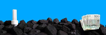 Paper money lies on black coal.