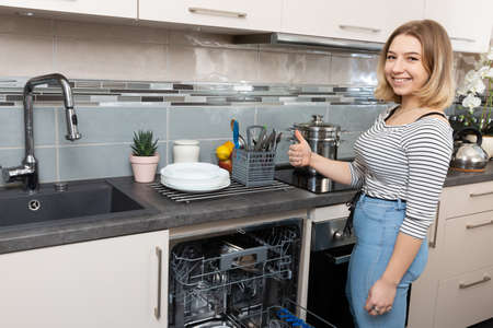 A dishwasher is a device that saves time, water and electricity and all dishes are thoroughly washed.