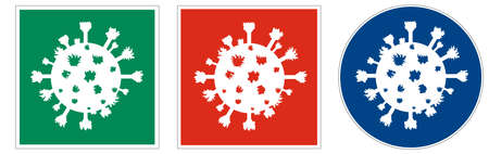 Universal pictographic symbols for the ongoing epidemic situation around the world. Vectores