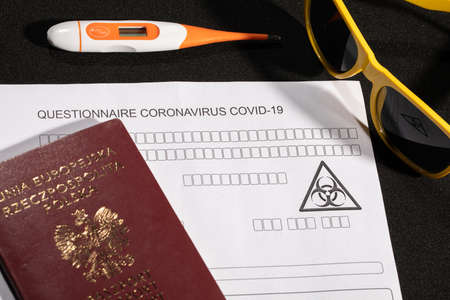 Obligatory control at all border crossing points, including temperature measurement and filling in a personal questionnaire Stock fotó - 143402686