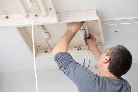 Every electrician, even with a lot of experience, is corner-wired for electric shock, so always be on your guard. 版權商用圖片