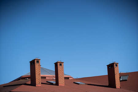 Ventilation chimneys are used to get rid of used air from living quarters Foto de archivo