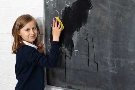 One girl from the class was appointed to wipe the wet sponge of the school board.
