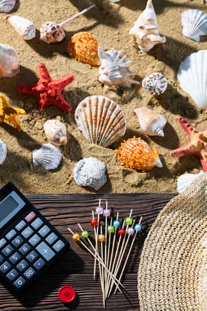A thoughtful holiday trip with a calculator in hand. Sea beach full of felt-tip pen and shells.
