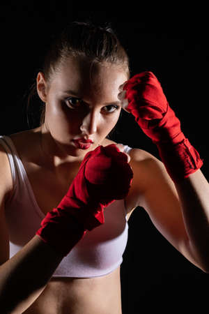 Contact and sharp sport in the ring for both women and men. Mixed Martial Arts. 免版税图像