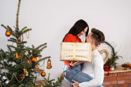 The fiance lifted his partner up in a fit of joy. Lovers flirt in a decorated living room at home. December Christian holidays. Archivio Fotografico