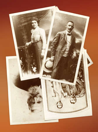caucasian ancestry: Background photo collage with family old pictures