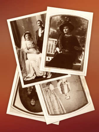 caucasian ancestry: Background photo collage with family old pictures Editorial