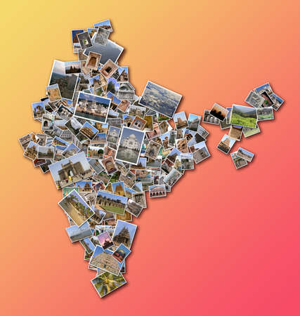 India outline map filled with a collage made of large collection of photos displaying Indian monuments and famous places Editorial