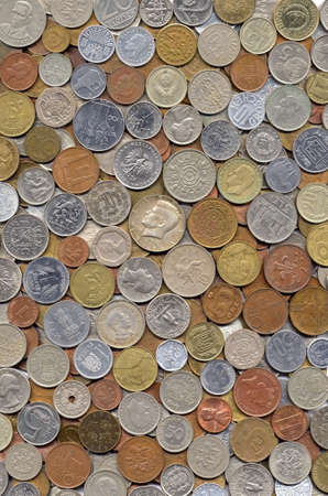 Big collection of various coins from different countries photo