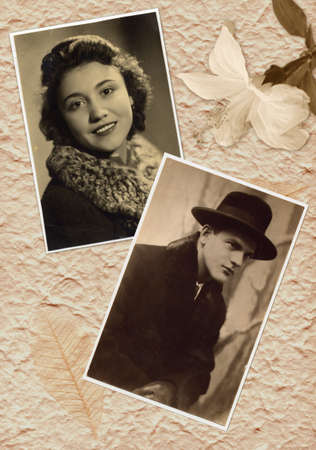 Young couple on the old, vintage photography