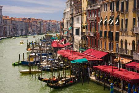 Gondolas in Venice, Italy. Grand Canal view.