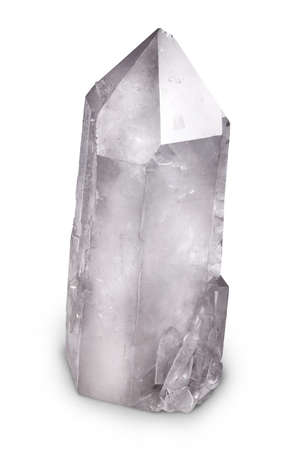 gemology: Big Natural Quartz Berg cristallo isolato su bianco