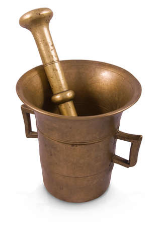 Old brass mortar and pestle isolated on white background Stock Photo - 15888402