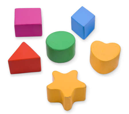Wooden blocks, different primary shapes and colors for children photo