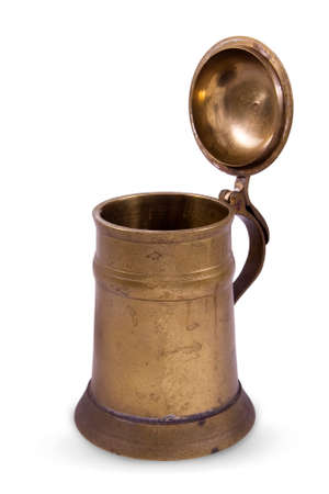 cu: Vintage brass copper old pint or tankard for beer isolated on white