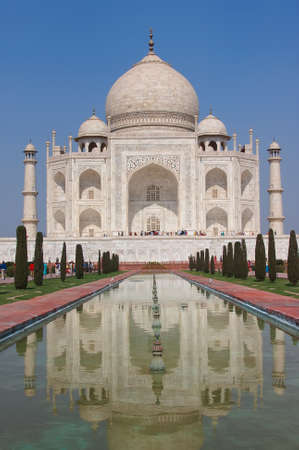 mughal architecture: Taj Mahal ivory white marble mausoleum of Mumtaz mahal Shahjahans wife in Agra, India