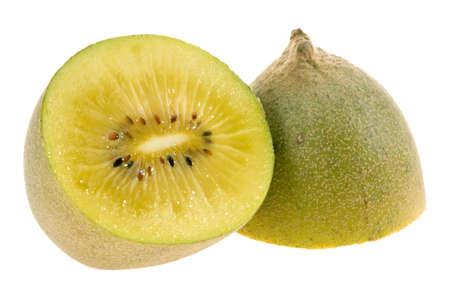 Cut yellow kiwi isolated on white photo