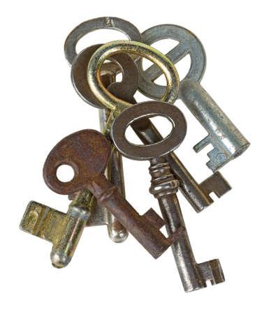 Heap of retro keys isolated on white